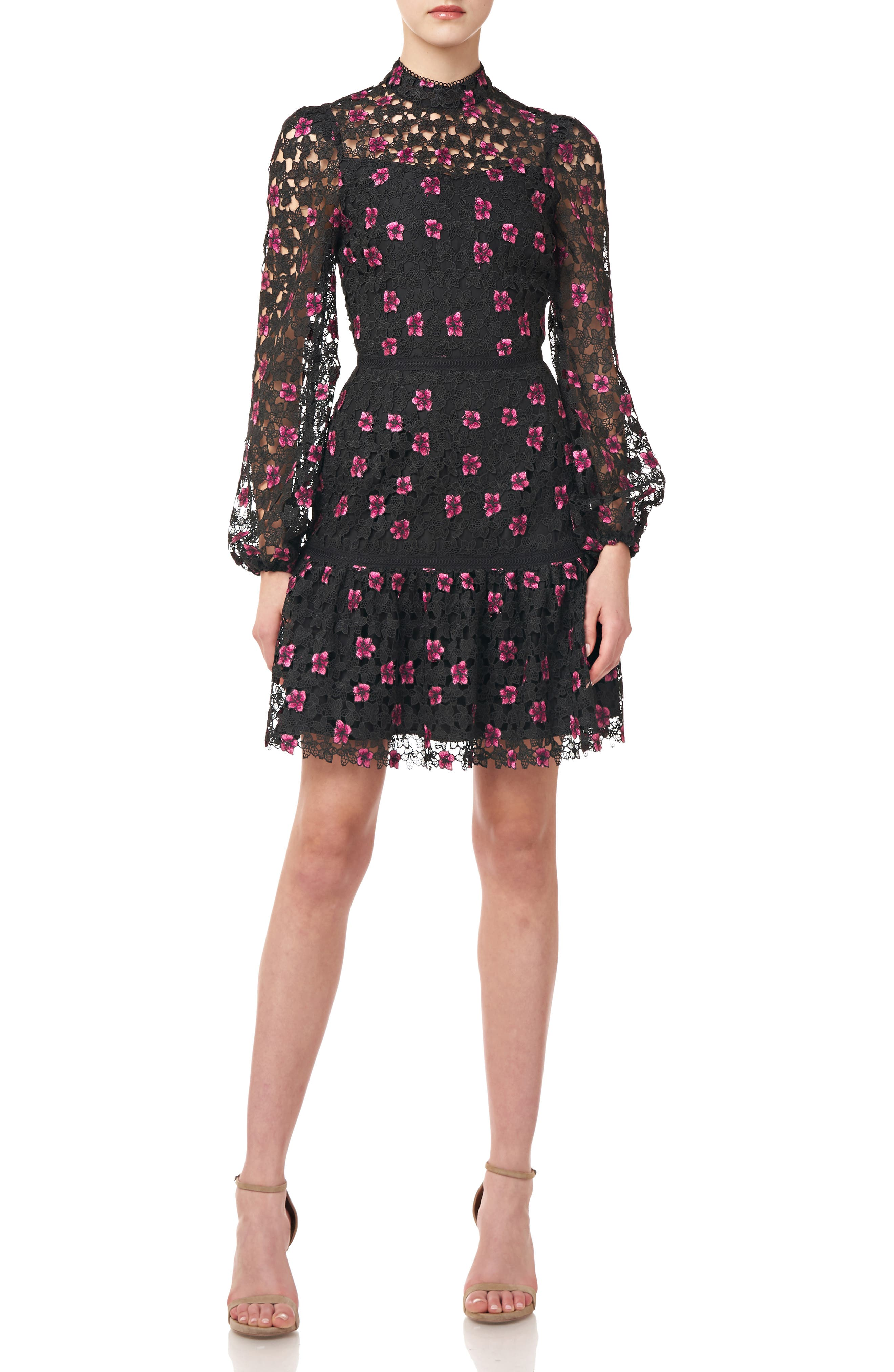 Floral Lace Long Sleeve Cocktail Dress