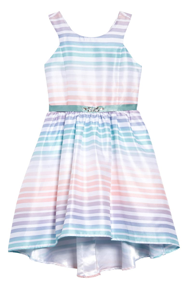 ZUNIE Ombré Rainbow Dress, Main, color, MULTI STRIPE