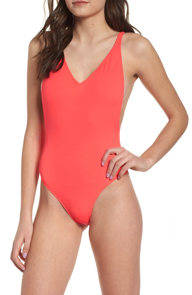 TOPSHOP Pamela One-Piece Swimsuit, Main, color, 600