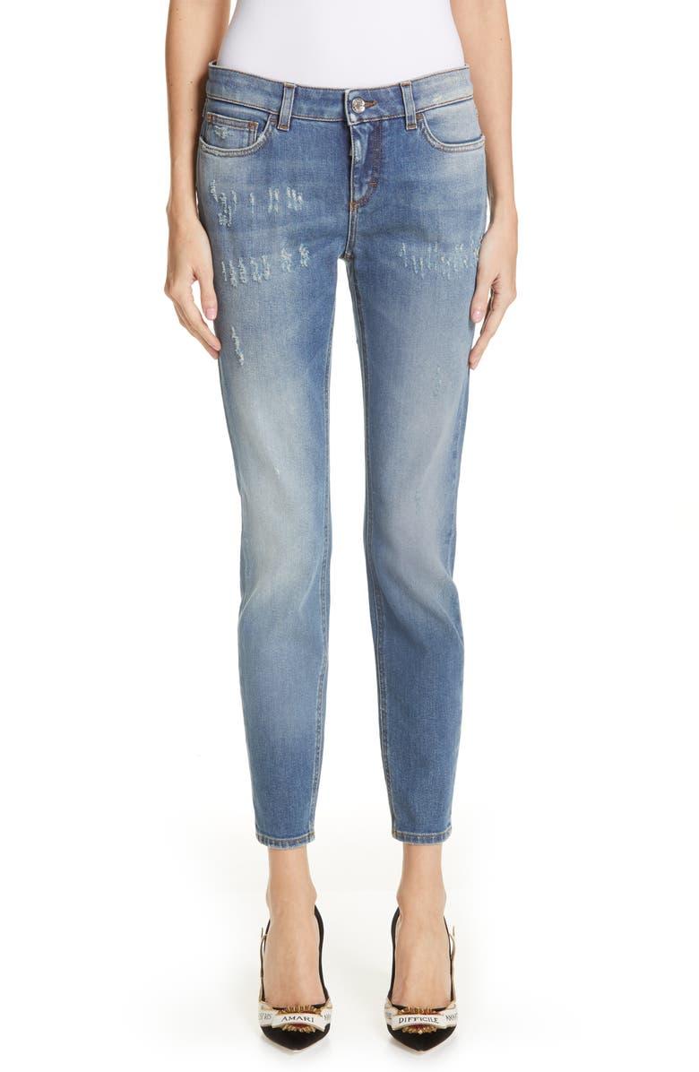 DOLCE&GABBANA Logo Plaque Skinny Jeans, Main, color, MED BLUE