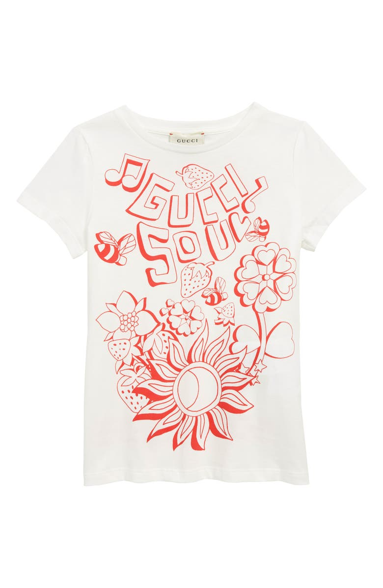 GUCCI Graphic Tee, Main, color, WHITE/ BRIGHT RED