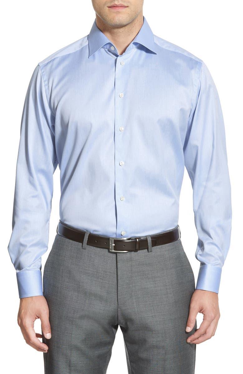 ETON Contemporary Fit Twill Dress Shirt, Main, color, BLUE