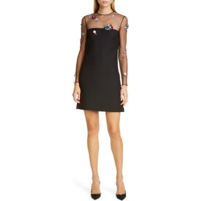 Valentino Embellished Mesh Long Sleeve Wool & Silk Dress, US / 40 IT - Black