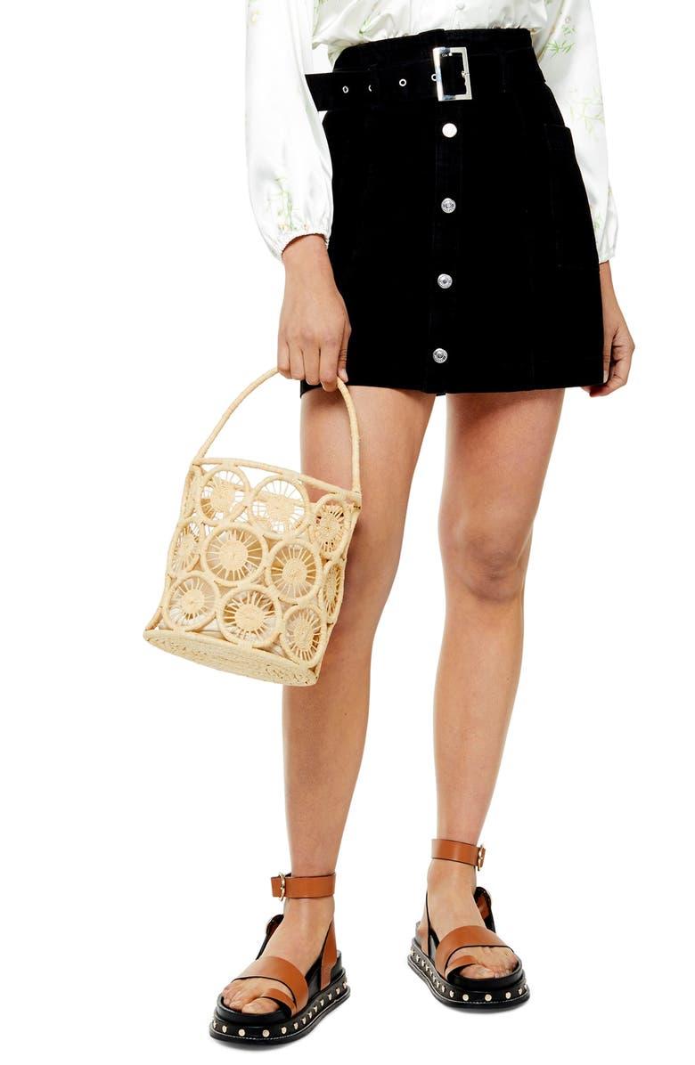 TOPSHOP Button Front Belted Denim Miniskirt, Main, color, 003