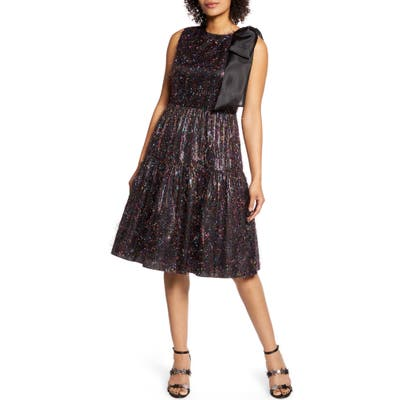 Halogen X Atlantic-Pacific Bow Tinsel A-Line Dress, Black (Nordstrom Exclusive)