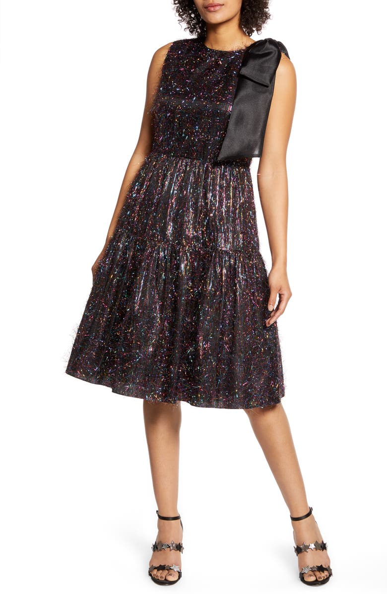 HALOGEN<SUP>®</SUP> x Atlantic-Pacific Bow Tinsel A-Line Dress, Main, color, RAINBOW TINSEL