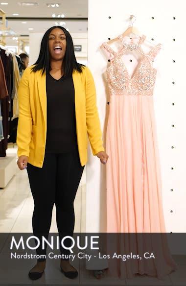 Strappy Beaded Bodice Chiffon Evening Dress, sales video thumbnail