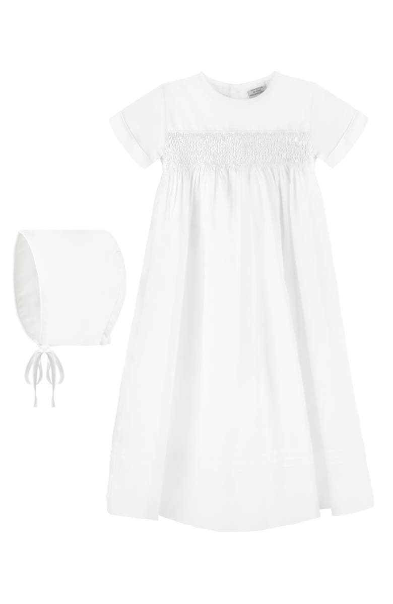 CARRIAGE BOUTIQUE Smocked Christening Gown & Bonnet Set, Main, color, WHITE