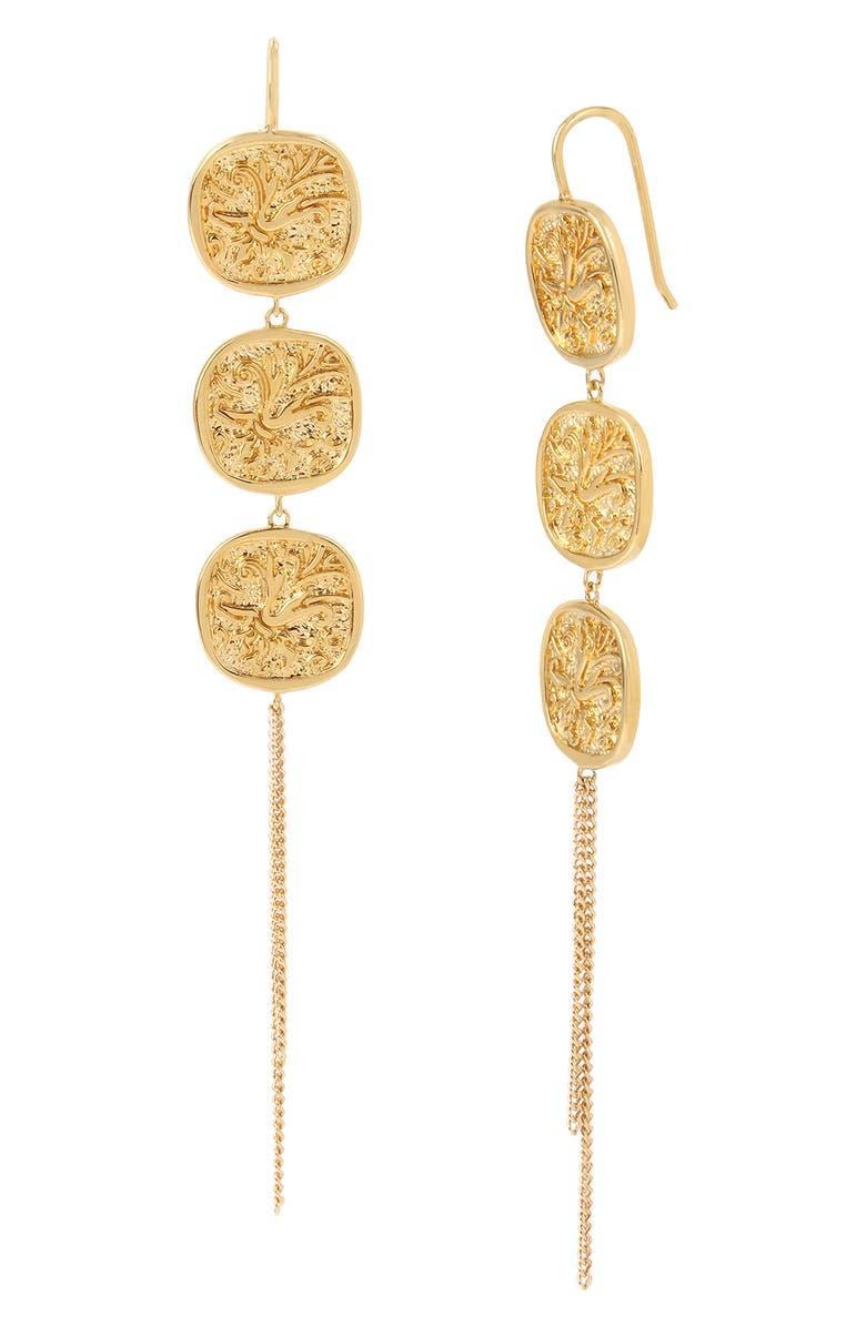 ALLSAINTS Linear Triple Coin Drop Earrings, Main, color, 710