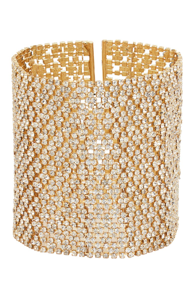 LISA FREEDE Crystal Lace Cuff, Main, color, GOLD