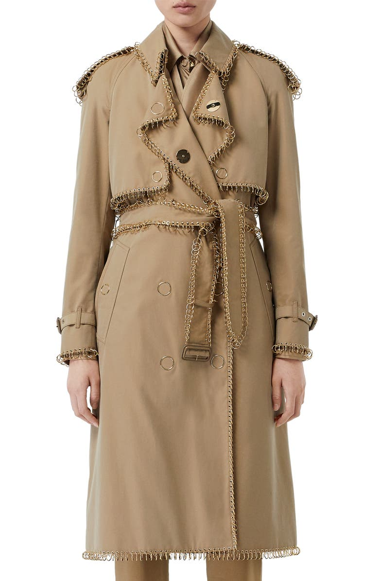 20c7d30dd2580e Pierced Double Breasted Cotton Trench Coat, Main, color, PALE HONEY