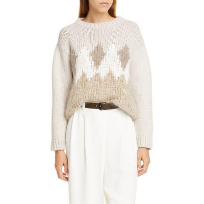 Brunello Cucinelli Sequin Argyle Wool, Cashmere & Silk Sweater, Beige
