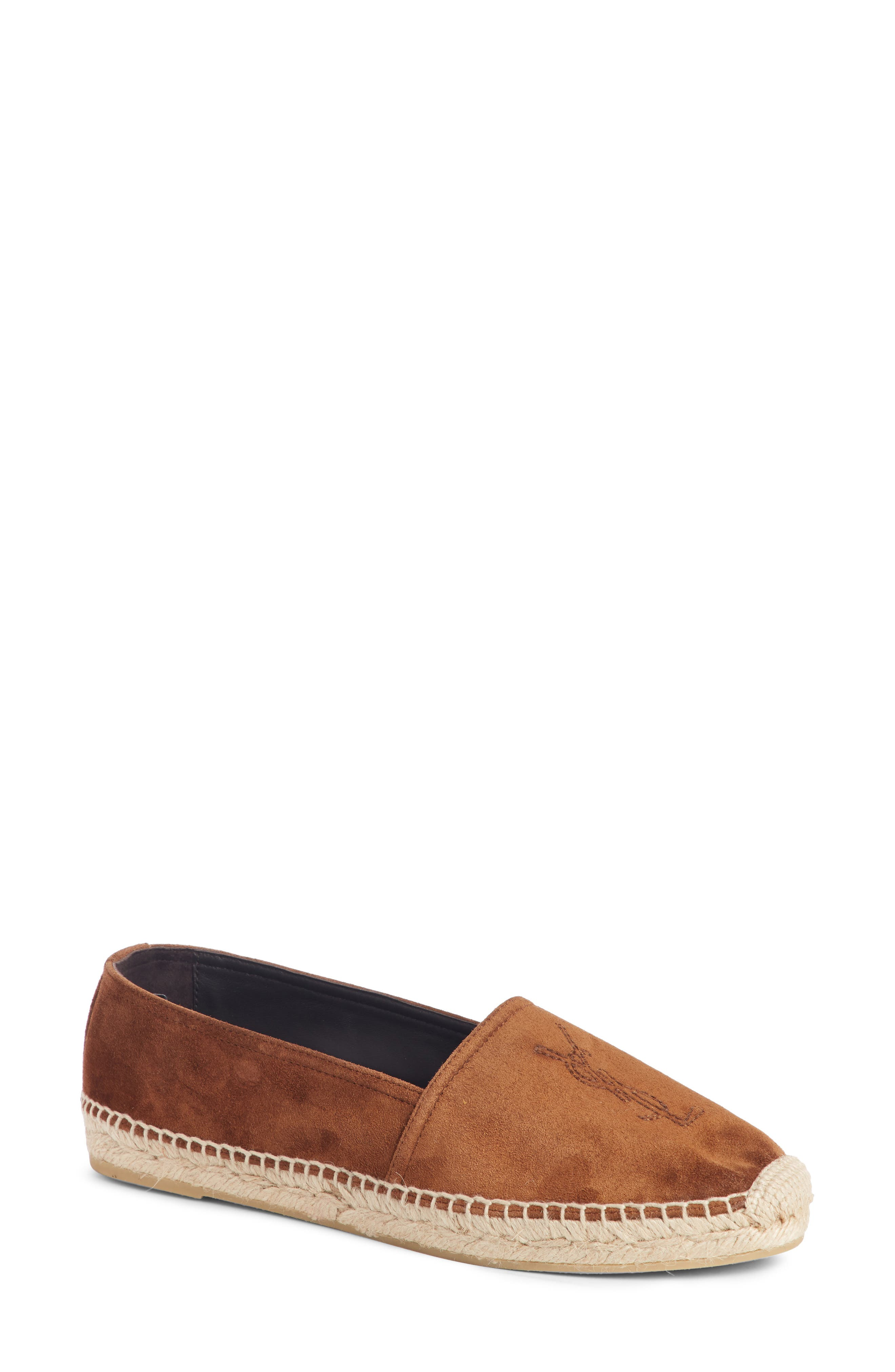 Saint Laurent Ysl Logo Espadrille, Brown