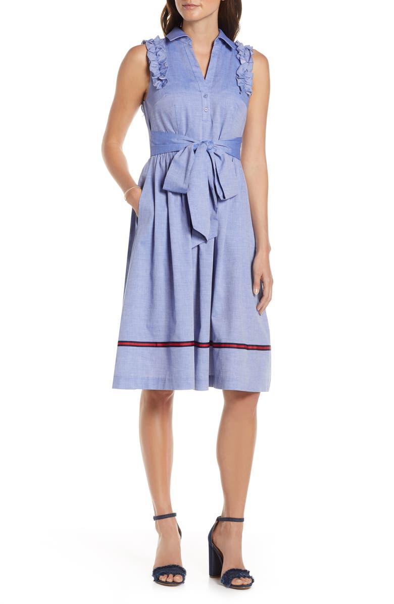 1901 Ruffle Trim Shirtdress, Main, color, 400