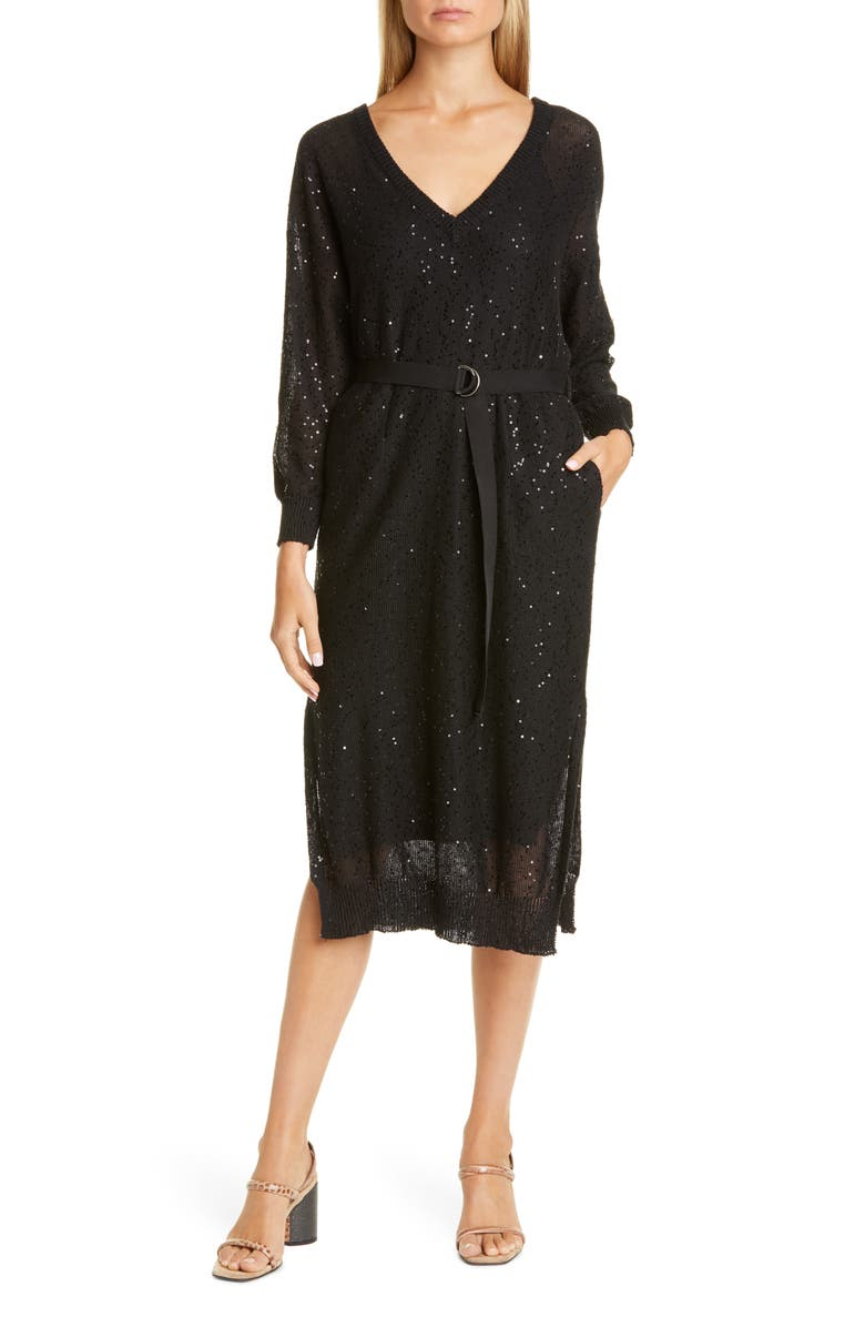 BRUNELLO CUCINELLI Sequin Belted Long Sleeve Linen & Silk Sweater Dress, Main, color, 001