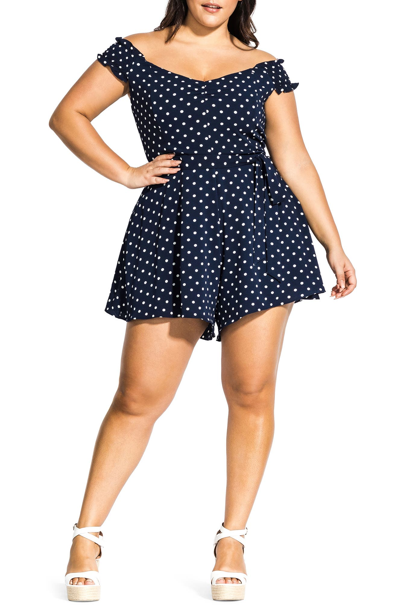 Vintage Rompers, Playsuits | Retro, Pin Up, Rockabilly Playsuits Plus Size Womens City Chic Fresh Spot Romper $69.30 AT vintagedancer.com