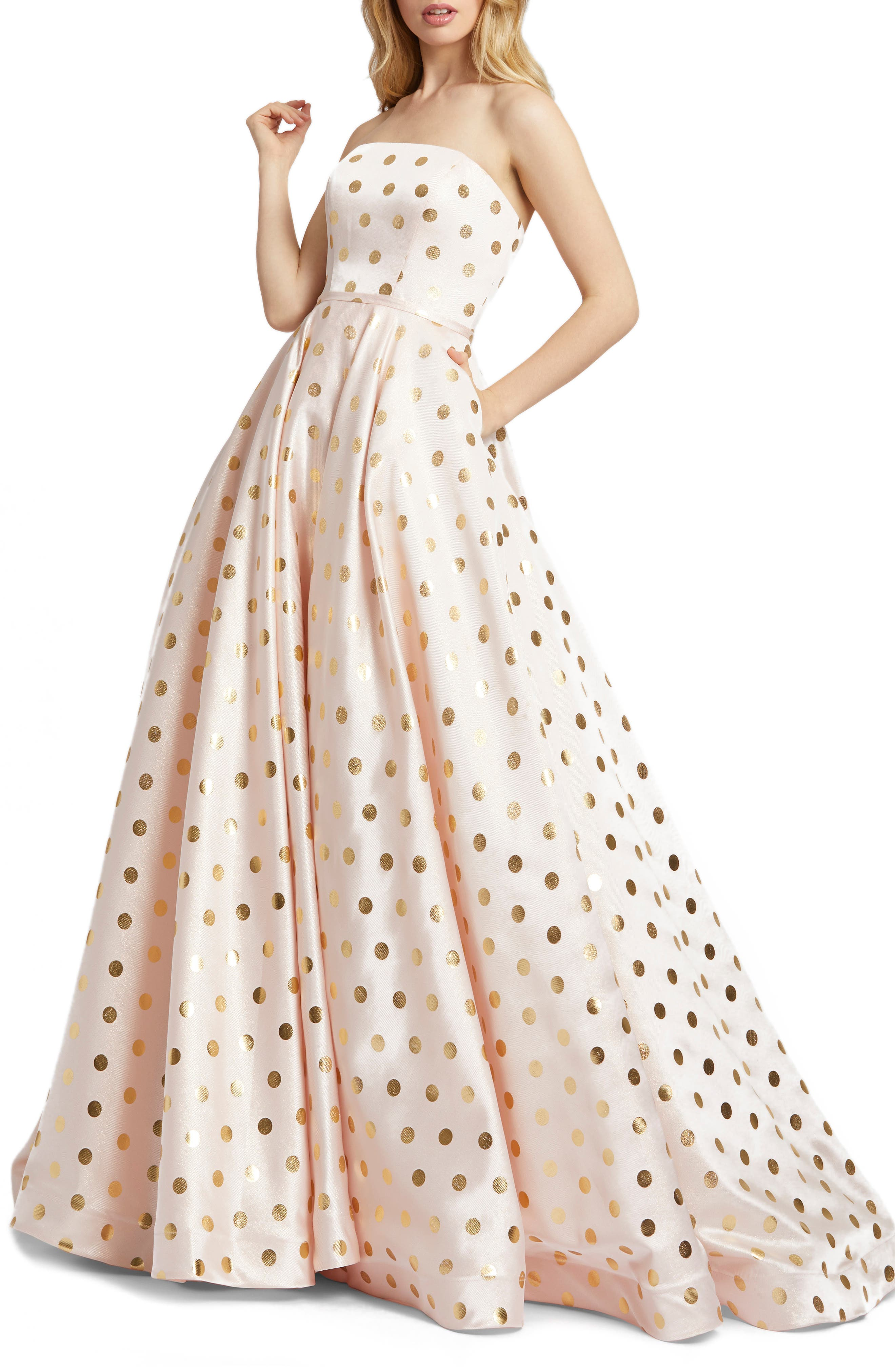 1950s Formal Dresses & Evening Gowns to Buy Womens MAC Duggal Strapless Polka Dot Ballgown $226.80 AT vintagedancer.com