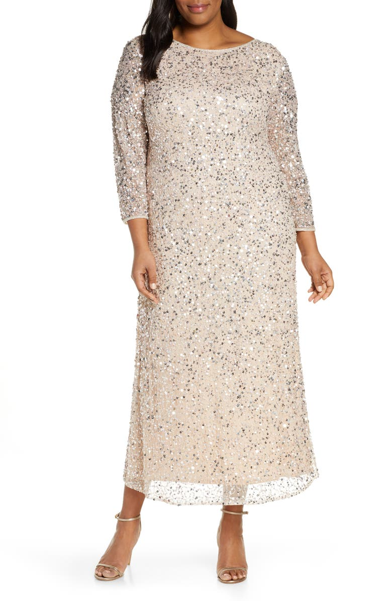 Embellished Mesh Gown plus size