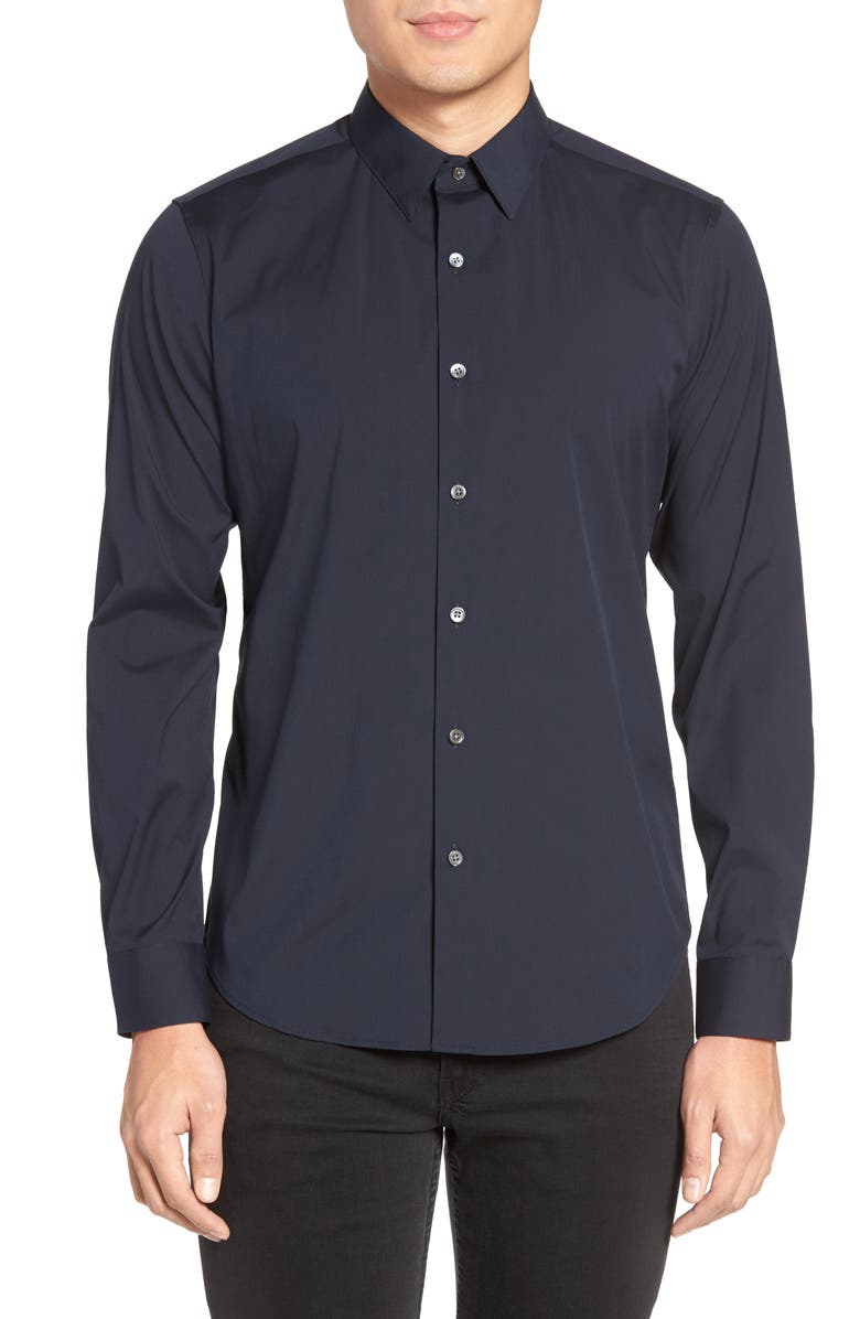 THEORY Sylvain Slim Fit Long Sleeve Shirt, Main, color, ECLIPSE