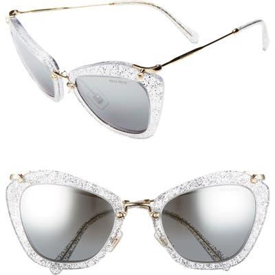 Miu Miu 55Mm Sunglasses - White Silver/ Grad Mirr