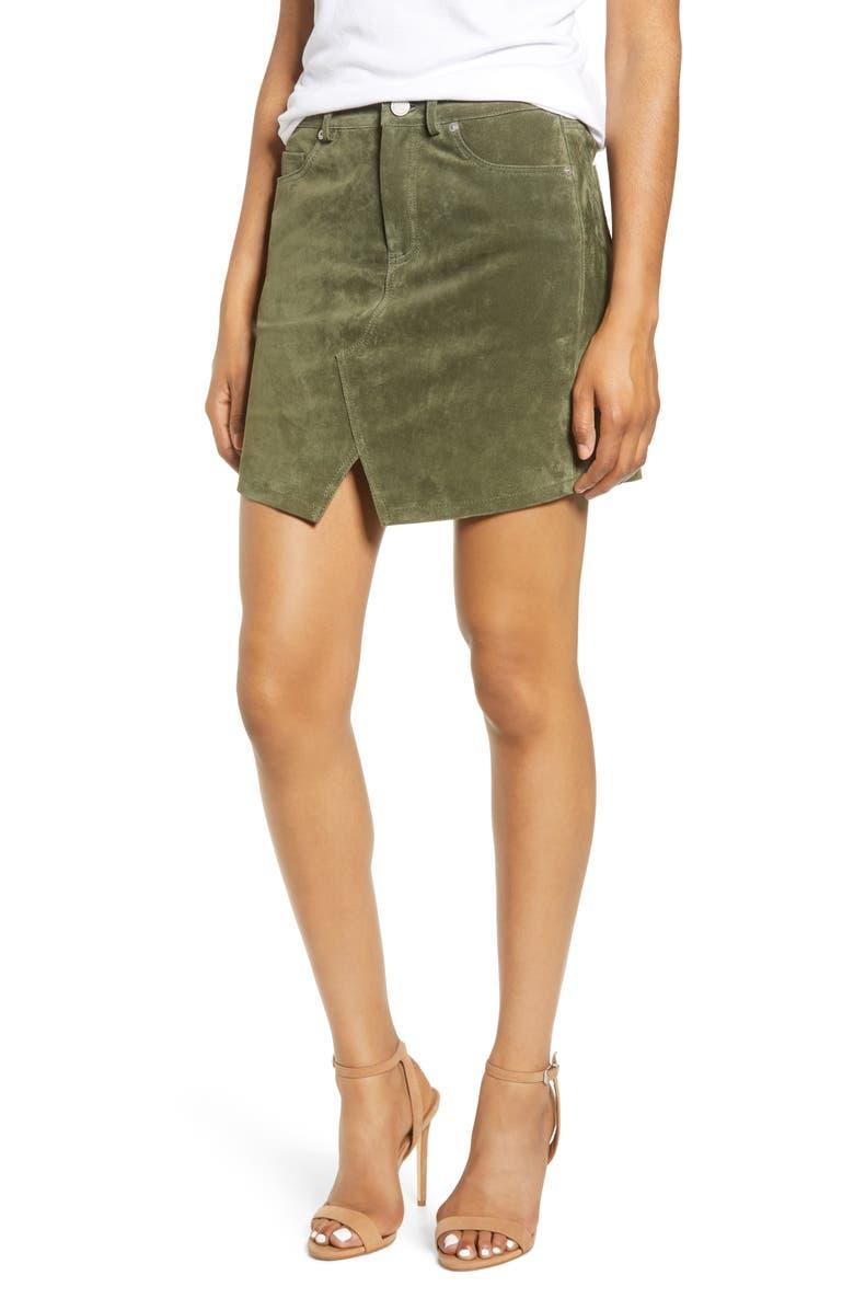 BLANKNYC Suede Miniskirt, Main, color, ALPINE GREEN