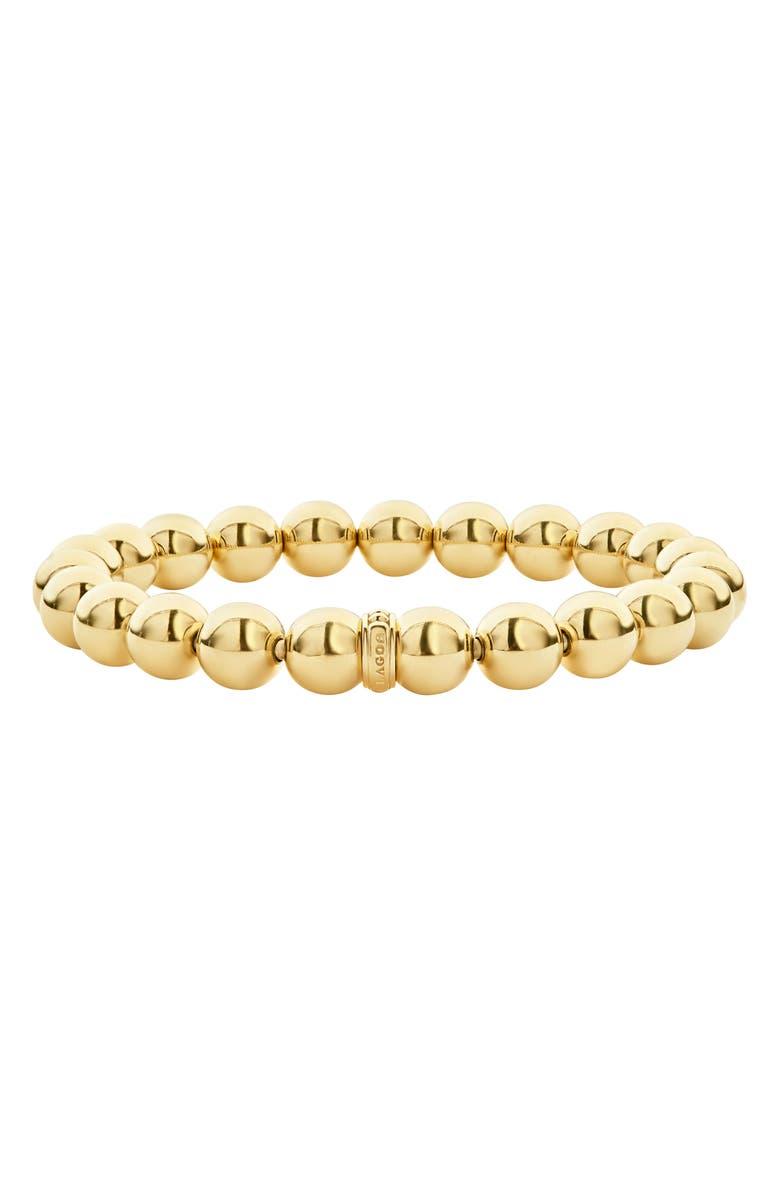 LAGOS Caviar Gold Ball Stretch Bracelet, Main, color, GOLD