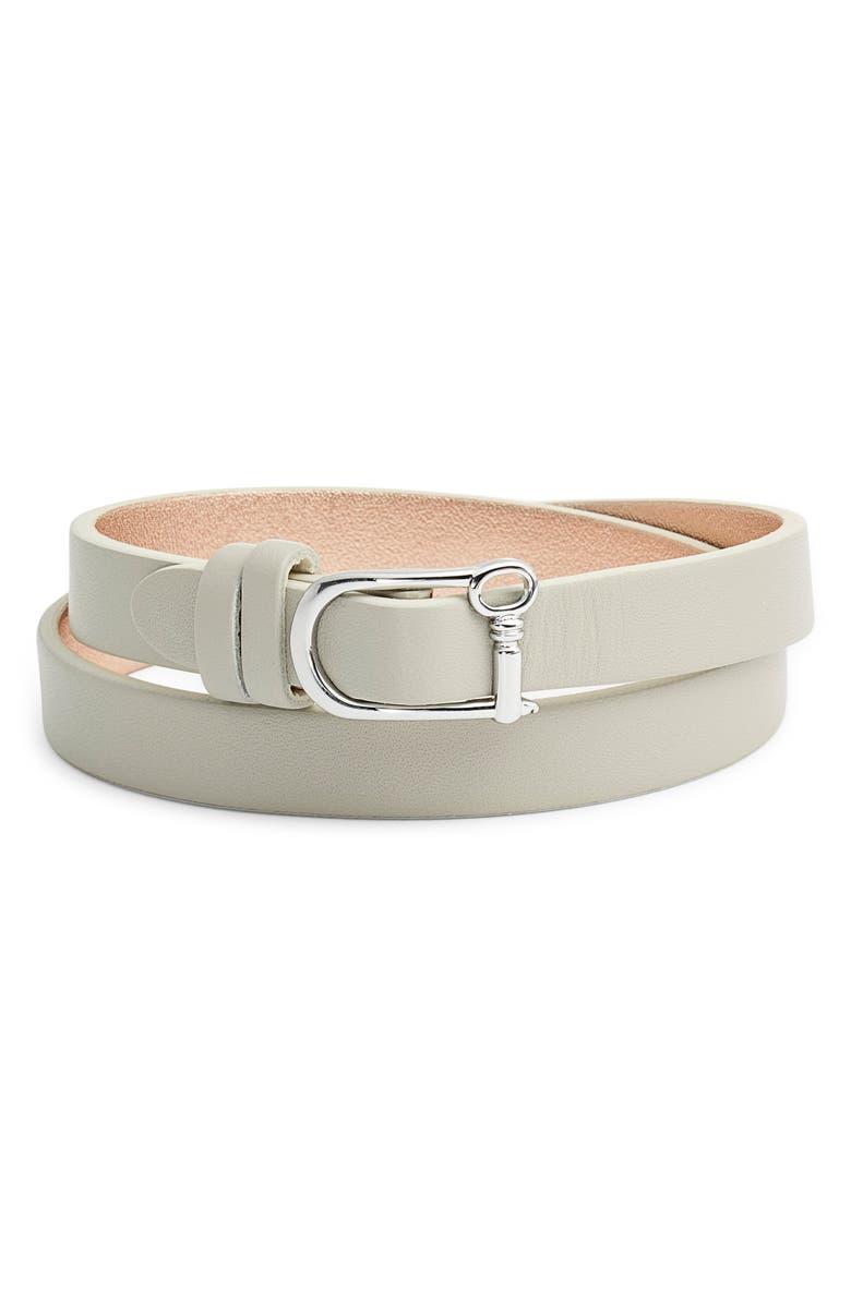 KEEP COLLECTIVE Reversible Double Wrap Leather Bracelet, Main, color, GREY