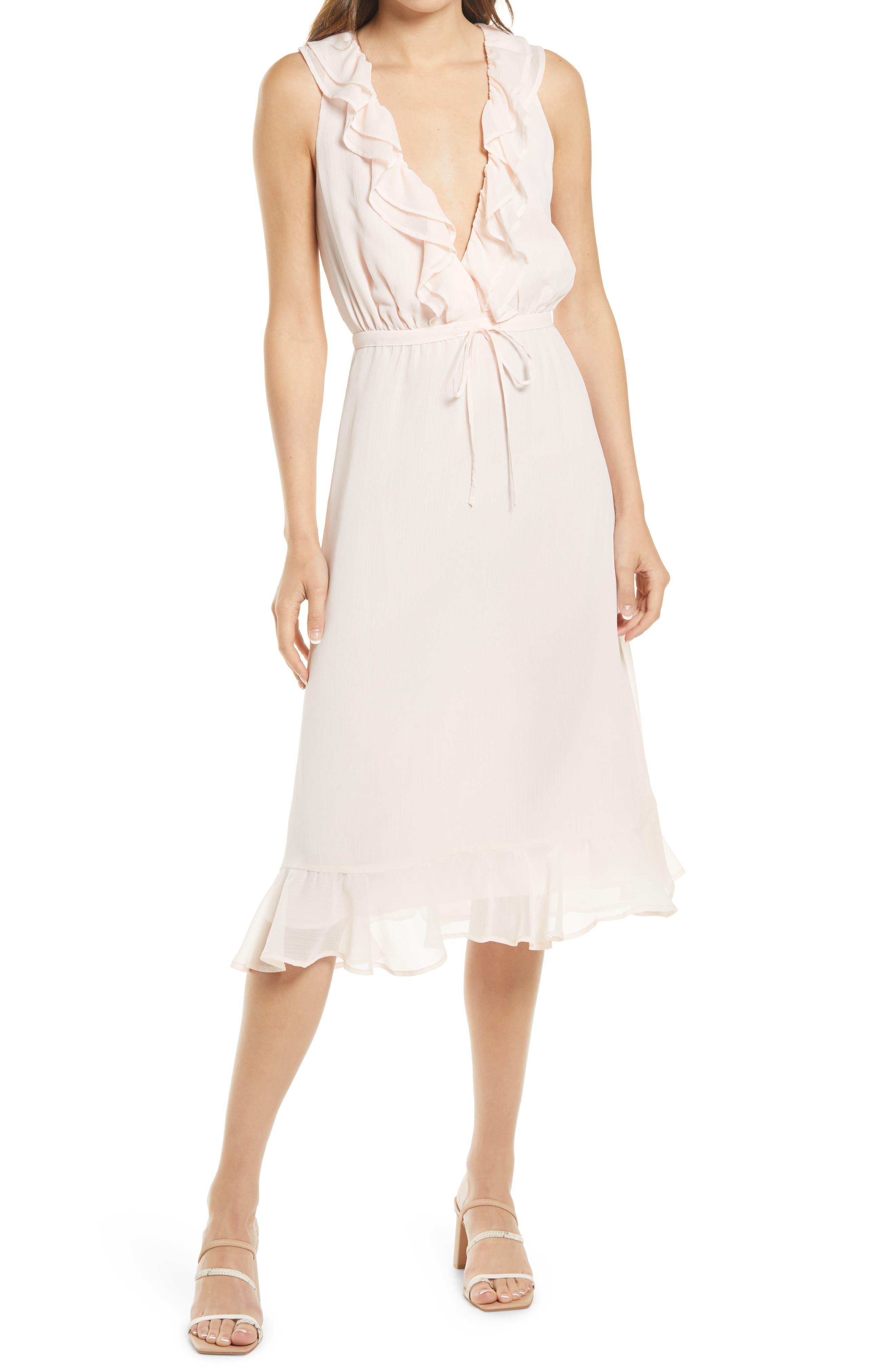 Ruffle Trim Chiffon Dress