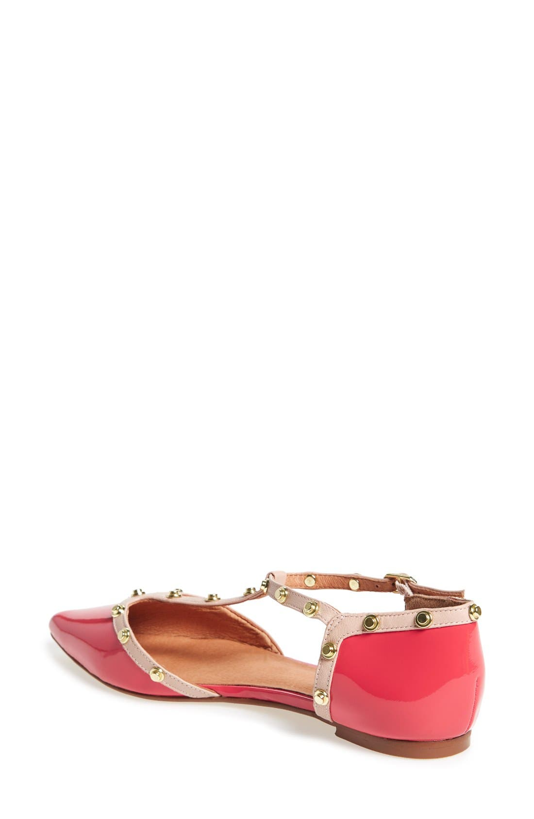 ,                             'Olson' Pointy Toe Studded T-Strap Flat,                             Alternate thumbnail 100, color,                             951