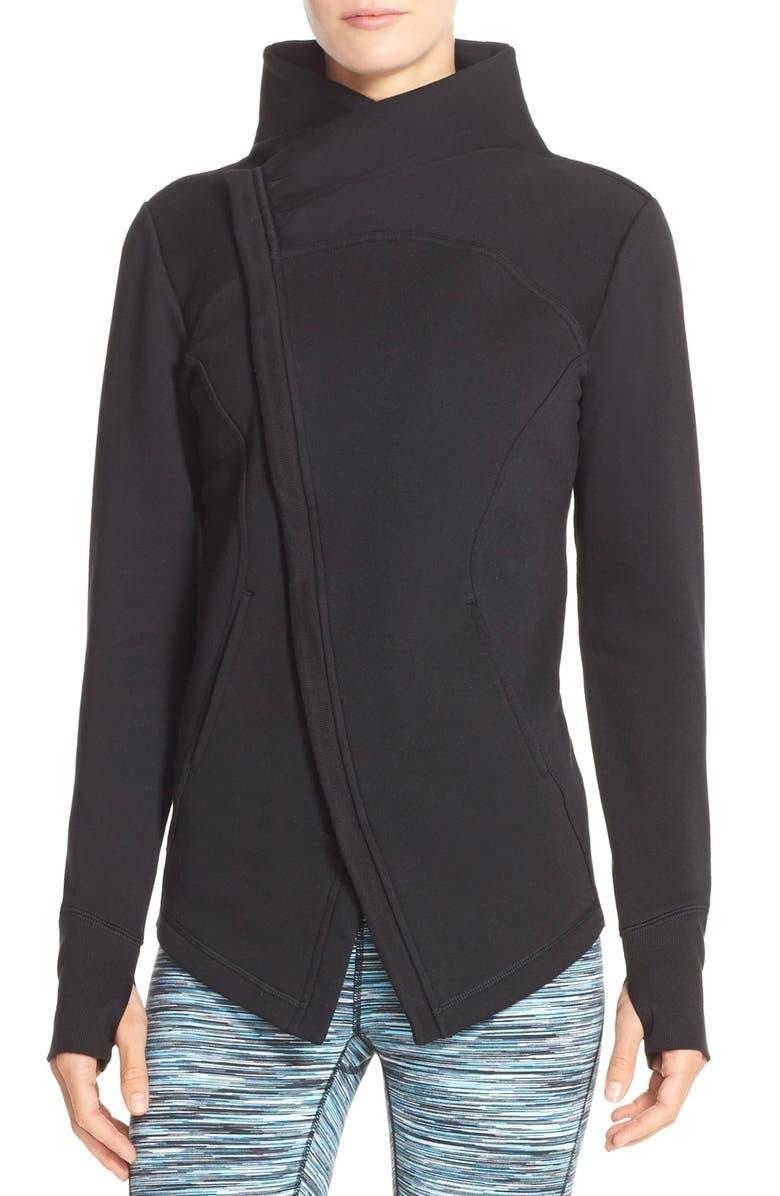 ZELLA 'Snowdrift' Asymmetrical Zip Sweatshirt, Main, color, 001