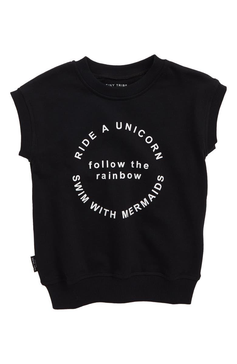 TINY TRIBE Follow the Rainbow Short Sleeve Sweatshirt, Main, color, 001