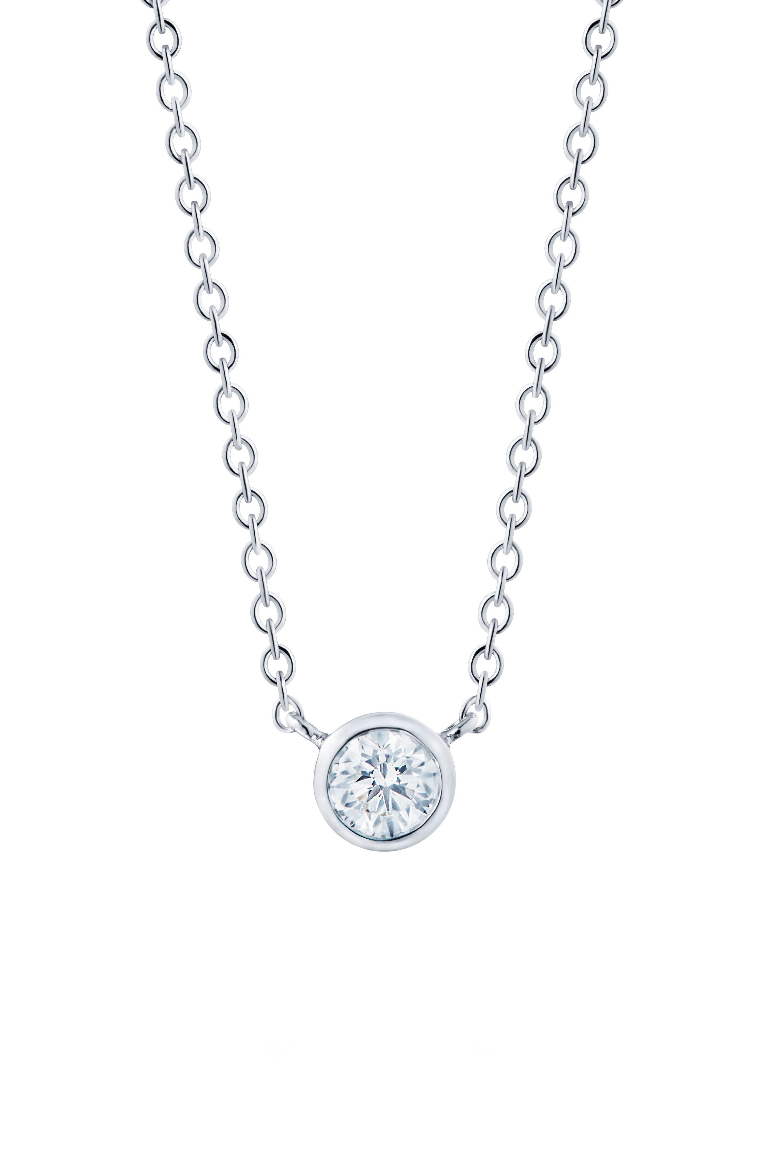 ,                             Diamond Circle Pendant Necklace,                             Main thumbnail 1, color,                             WHITE GOLD
