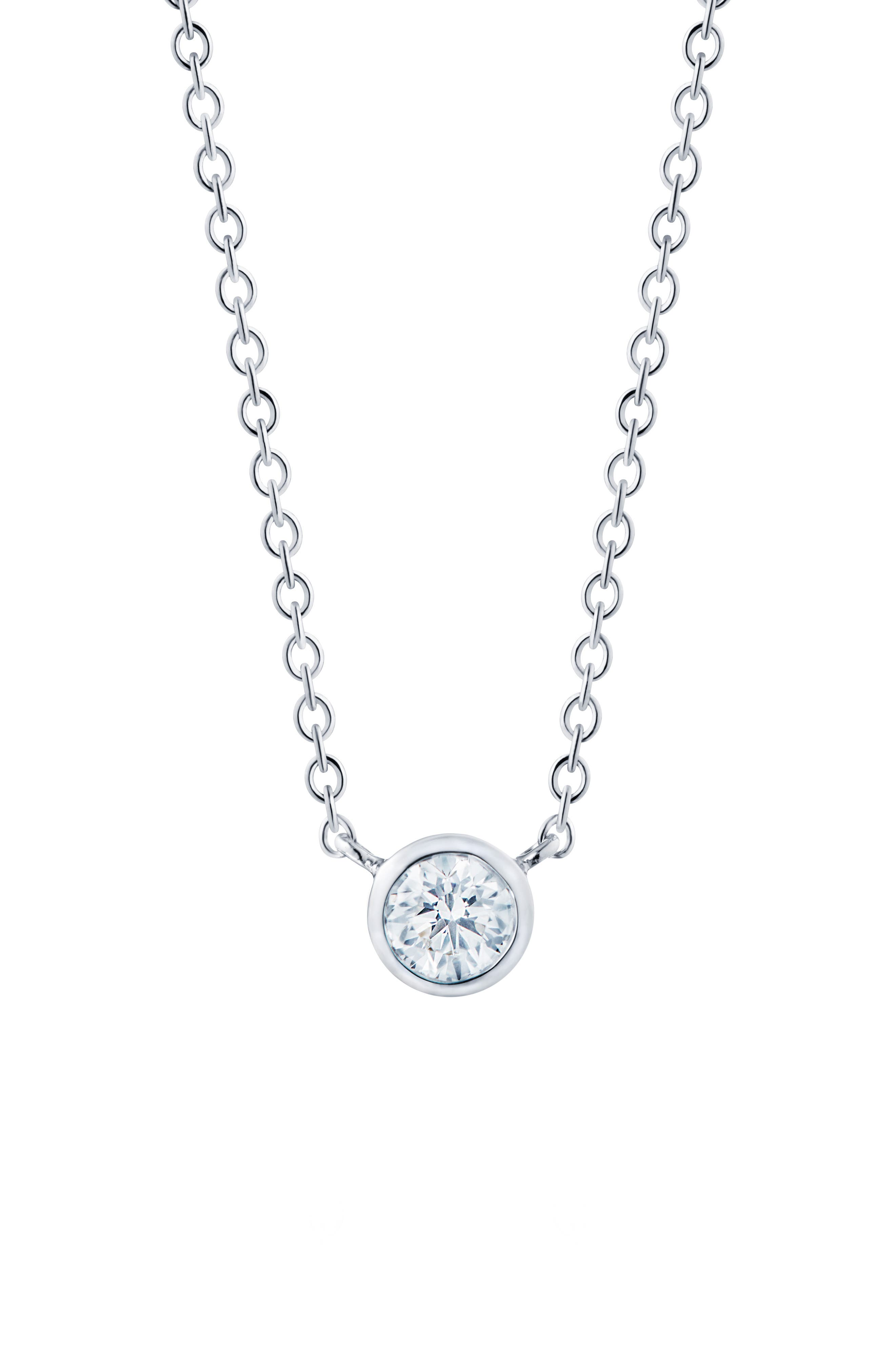 Diamond Circle Pendant Necklace, Main, color, WHITE GOLD