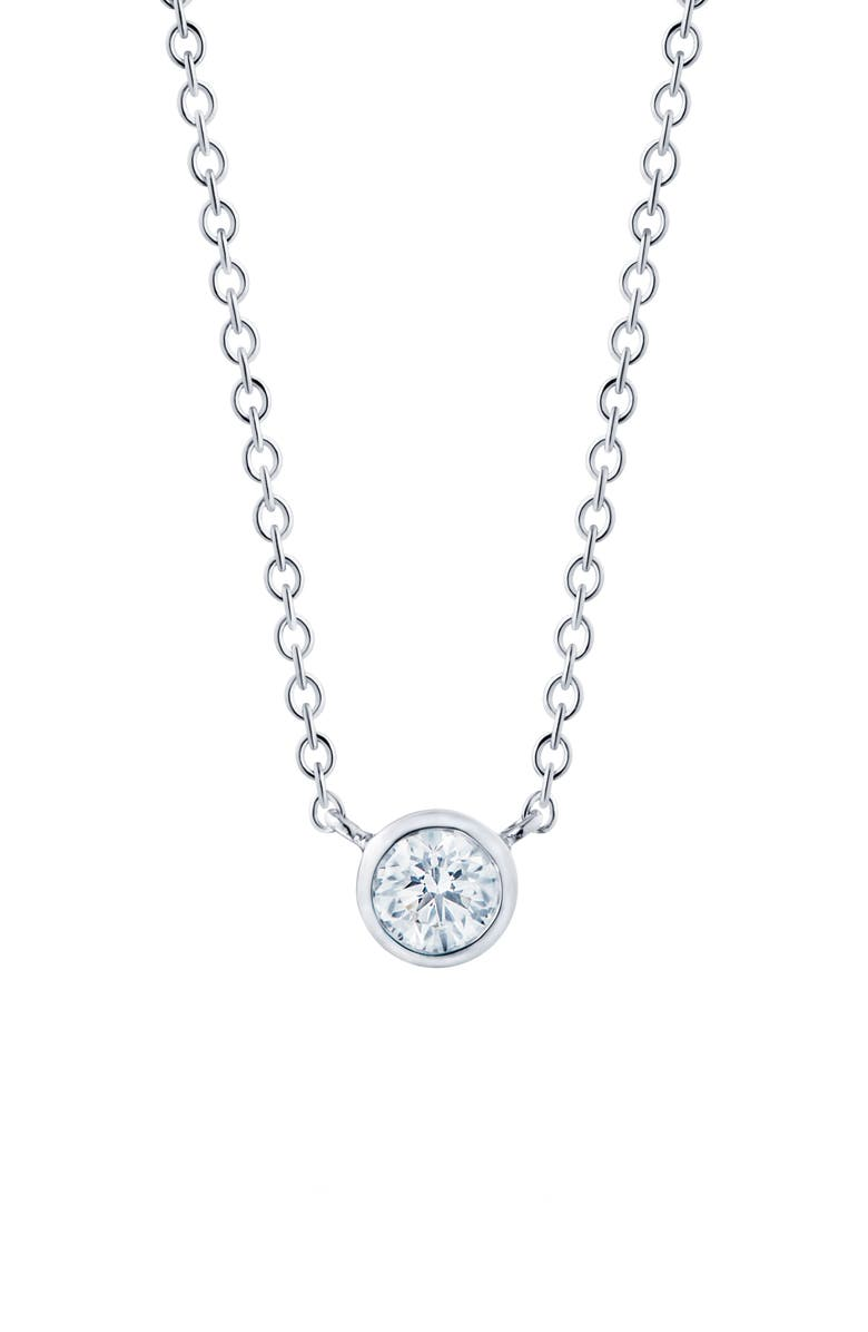 KWIAT Diamond Circle Pendant Necklace, Main, color, WHITE GOLD