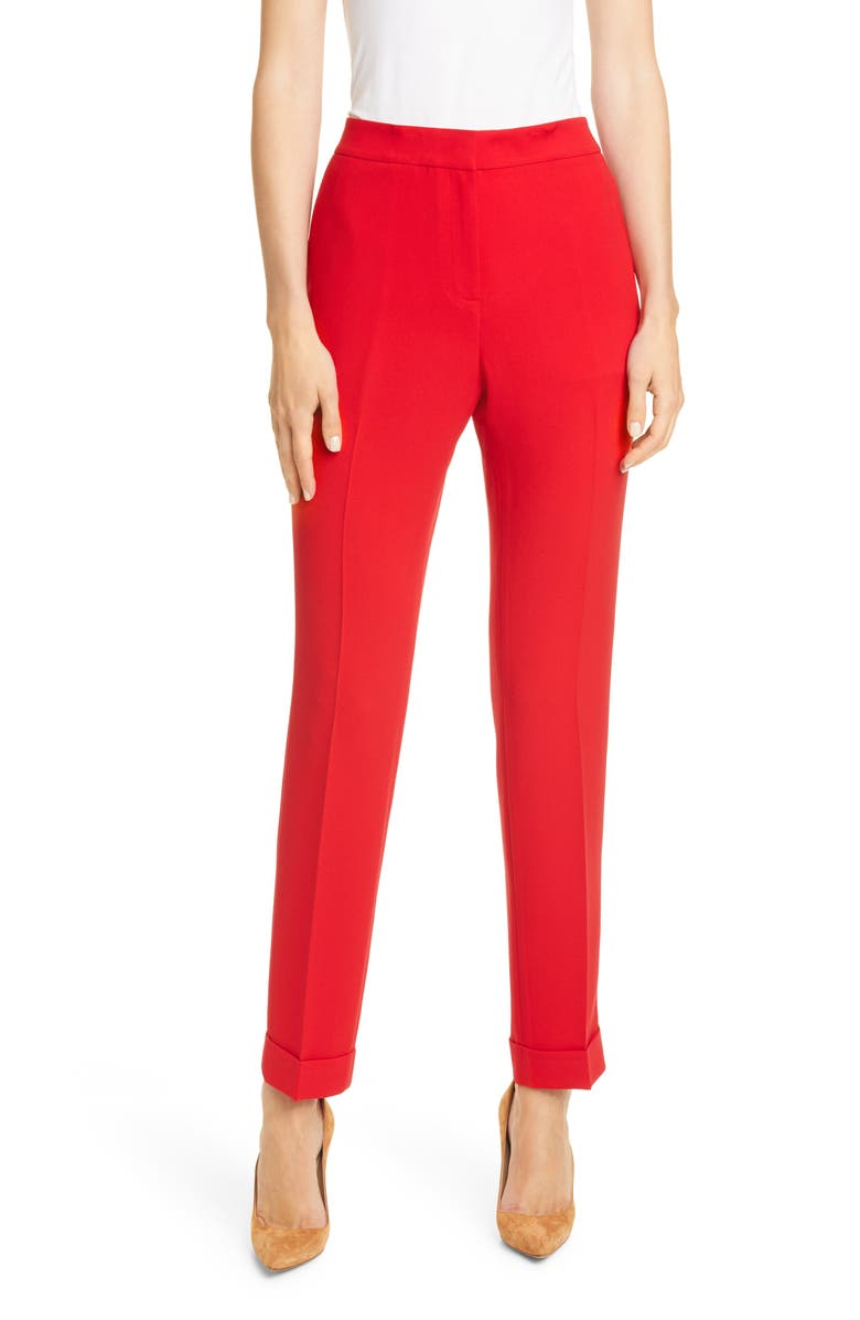 LAFAYETTE 148 NEW YORK Clinton Cuffed Pants, Main, color, RED CURRANT
