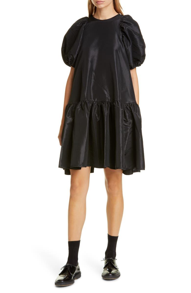 CECILIE BAHNSEN Alexa Puff Sleeve Faille Babydoll Dress, Main, color, BLACK