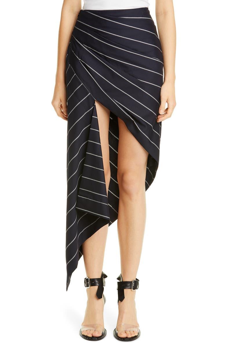 MONSE Pinstripe Asymmetrical Wool Skirt, Main, color, MIDNIGHT/ IVORY