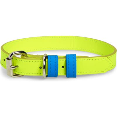 Ware Of The Dog Two-Tone Leather Dog Collar, Yellow