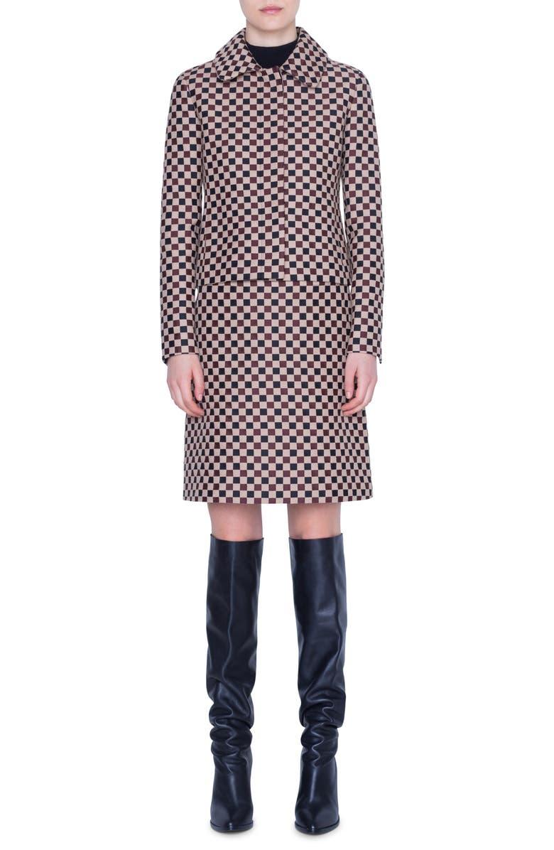 AKRIS PUNTO Chess Check Jacquard Jacket, Main, color, CAMEL/ BLACK/ RUBY