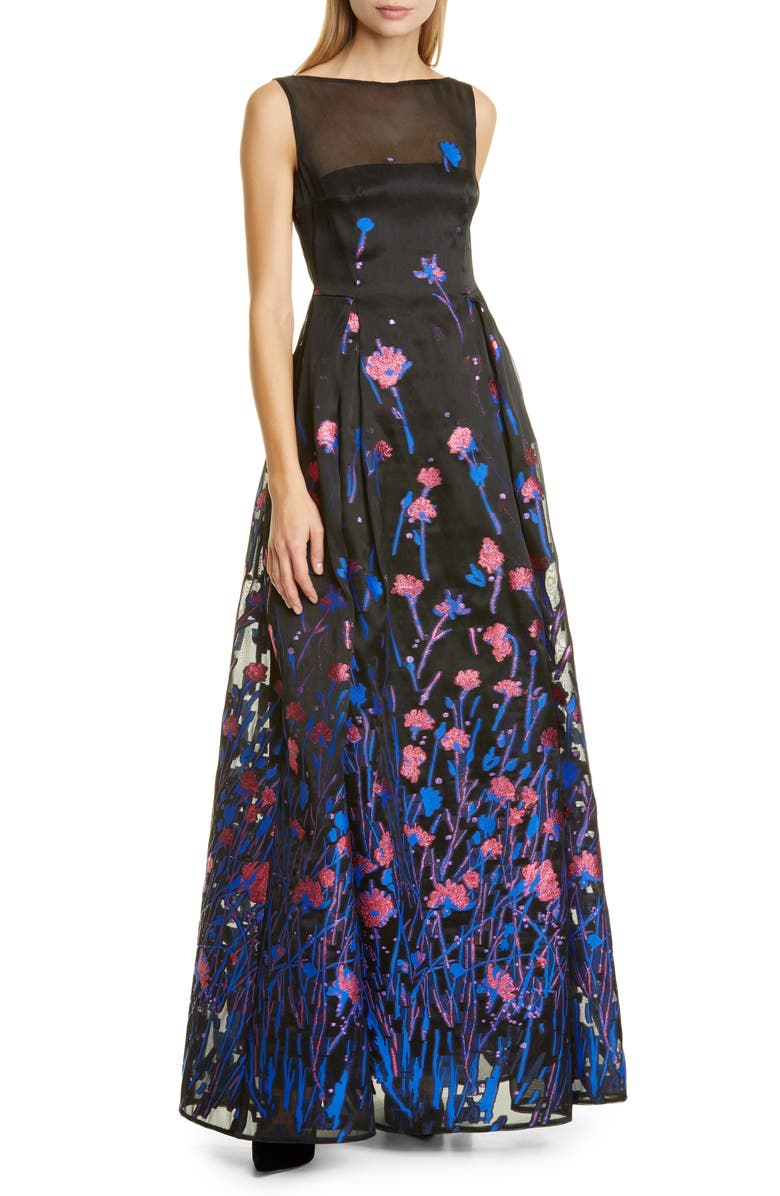 TALBOT RUNHOF Poppy Field Fil Coupé Gown, Main, color, ROYAL