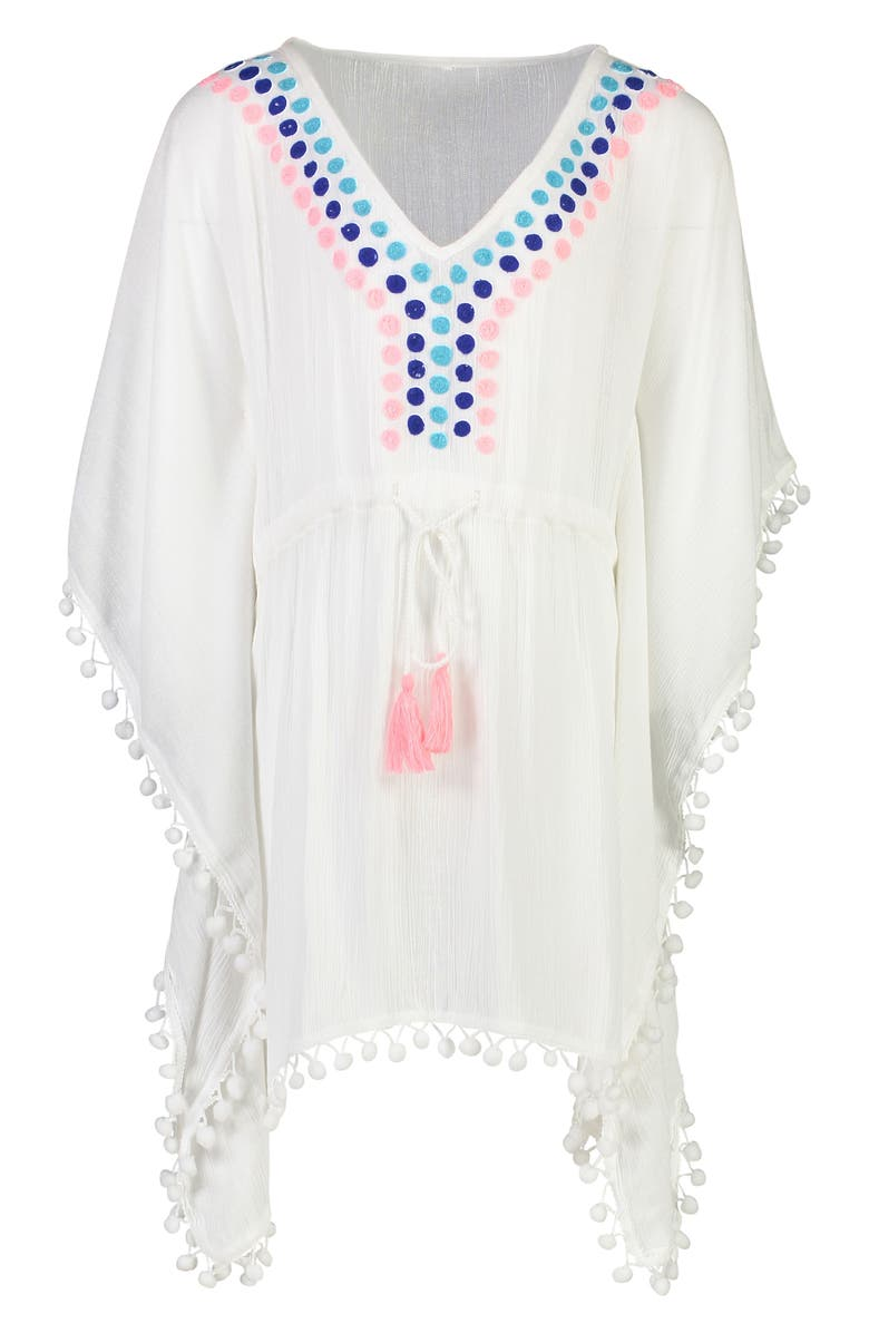 SNAPPER ROCK Batwing Sleeve Caftan Cover-Up, Main, color, WHITE