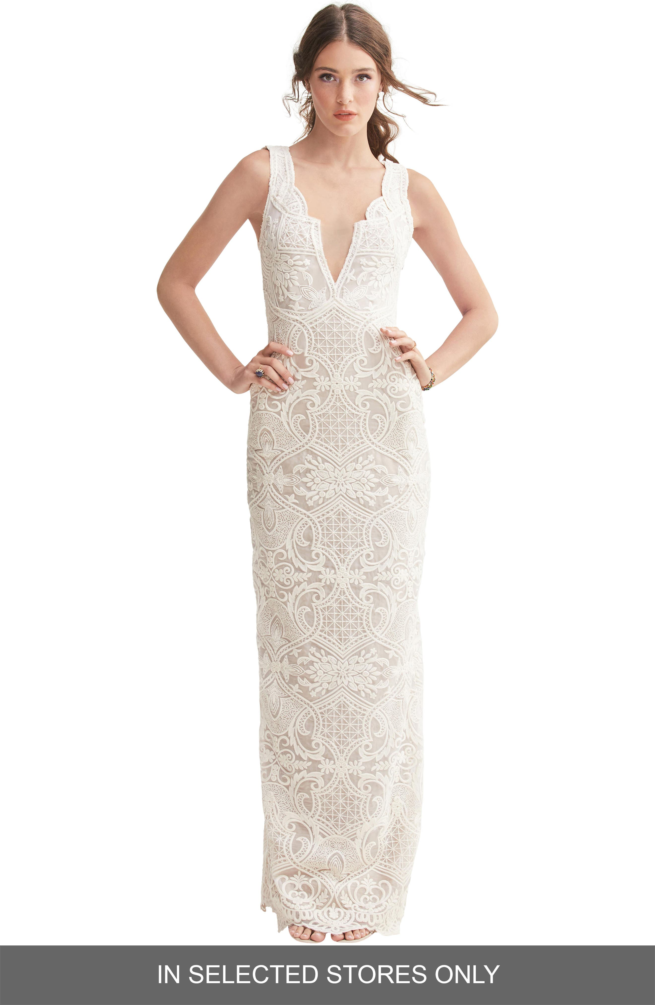 Willowby Gypsie Lace Column Wedding Dress, Size IN STORE ONLY - Ivory