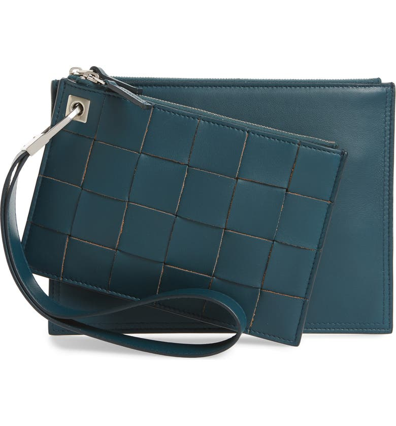 BOTTEGA VENETA Set of Two Leather Pouches, Main, color, PETROLEUM BLUE