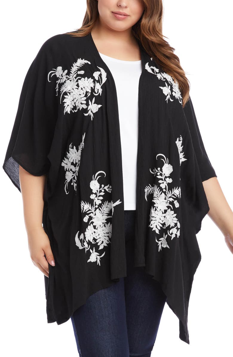 KAREN KANE Embroidered Floral Open Front Jacket, Main, color, 001