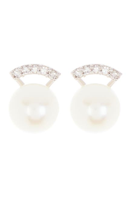 Image of Paige Novick Sterling Silver Pearl Stud Pave Diamond Bar Earrings