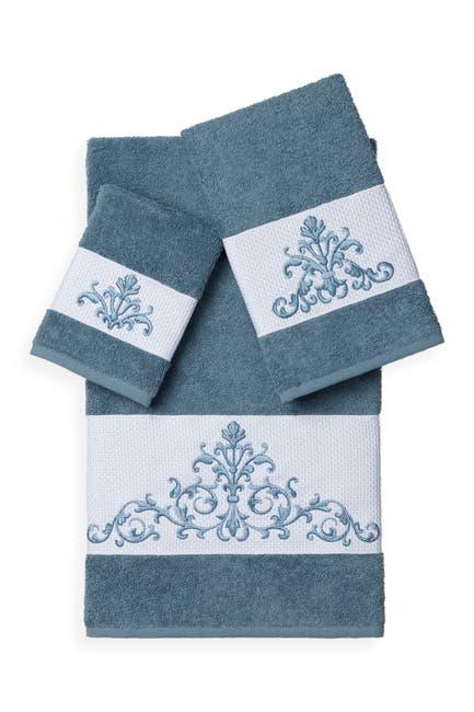 Image of LINUM TOWELS Scarlet 3-Piece Embellished Towel Set - Teal