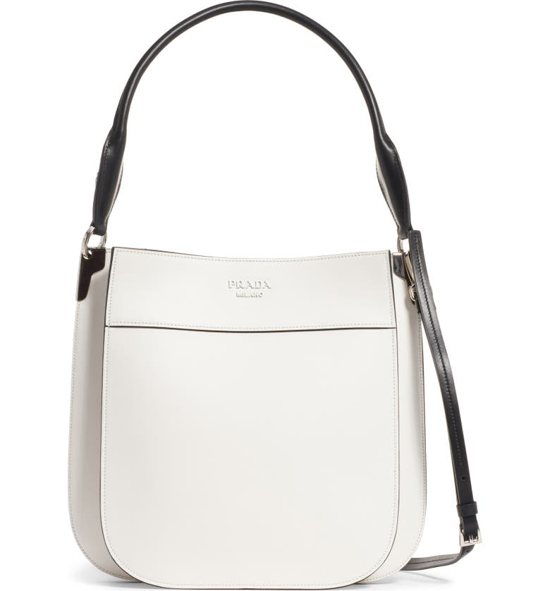 PRADA Medium City Leather Hobo Bag, Main, color, BIANCO/ NERO