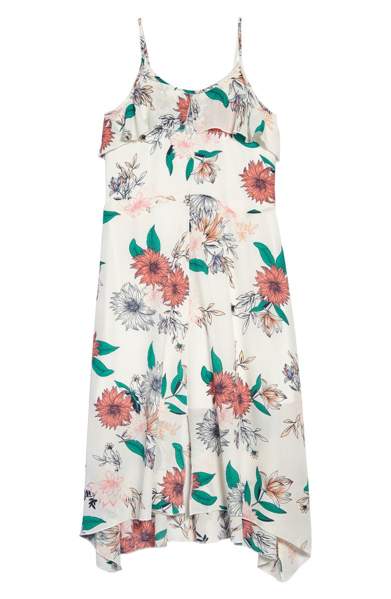 TRULY ME Ruffle Floral Print Maxi Dress, Main, color, 100