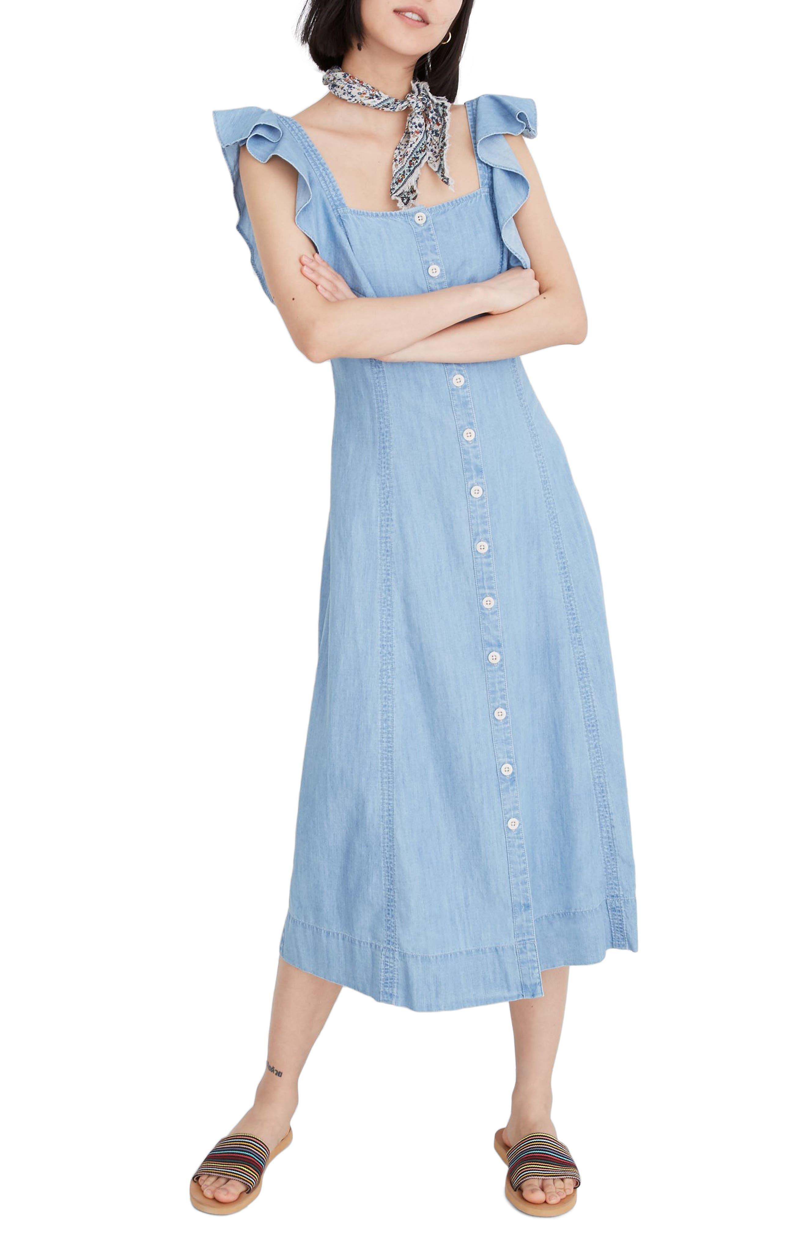 Madewell Princess Seamed Denim Midi Dress, Blue