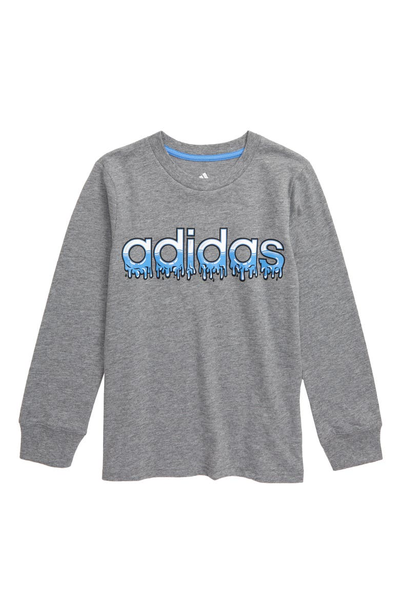 ADIDAS Core Linear Slime Graphic T-Shirt, Main, color, CHARCOAL GREY